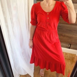 Vintage Jerell Red Terry Puff Sleeve Midi Dress
